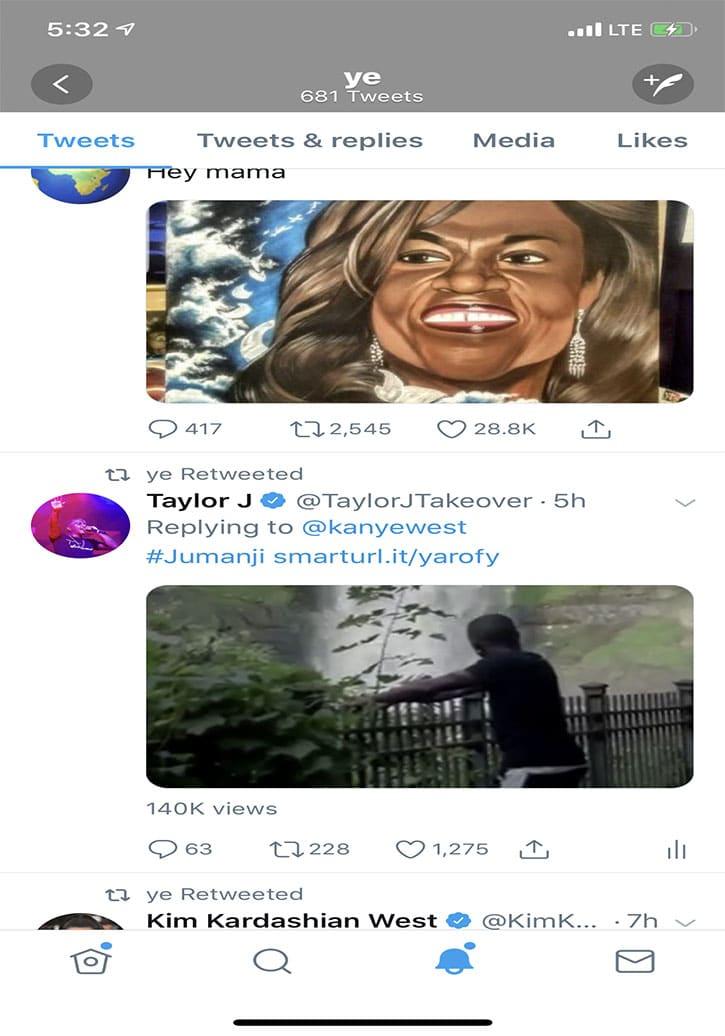 Kanye West retweets Taylor J's 'Jumanji' Video
